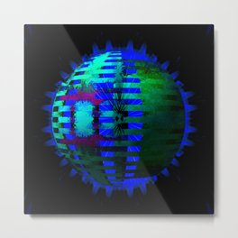 Green Layered Star in Blue Flames Metal Print