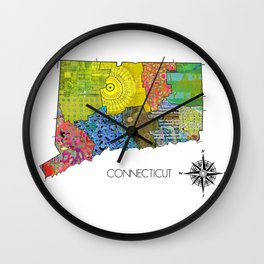 Map of CT Art Collage Wall Clock