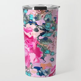 Pink floral work with some turquoise and yellow details Travel Mug