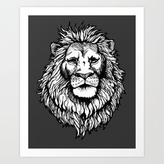 Lion (on dark) Art Print