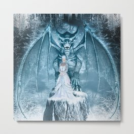 Ice Queen and Dragon Metal Print