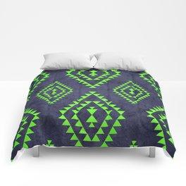 Navy & Lime tribal inspired print Comforters