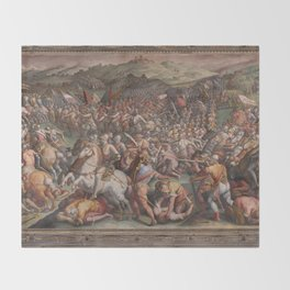 Classic Art The battle of Marciano in Val di Chiana By Giorgio Vasari Throw Blanket