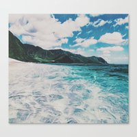 Canvas Prints featuring Hawaii Pacific Ocean Surreal Coast (Painting) by HIGraphicDesigns