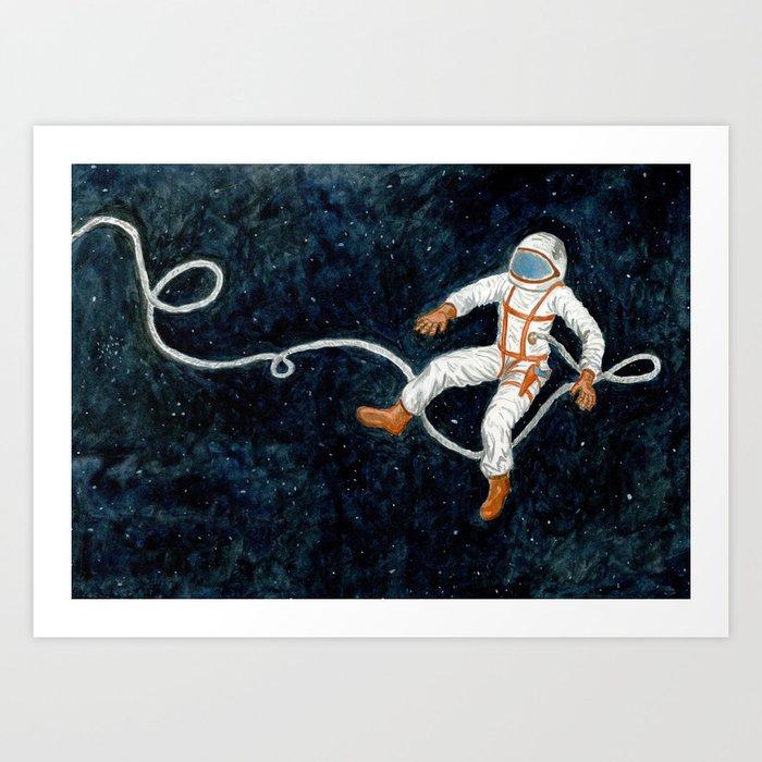 Astronaut Floating Through Space Art Print