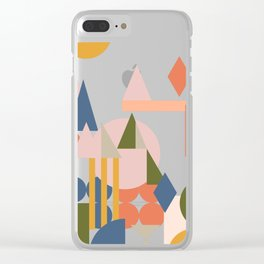 Folksy Geometric Abstract Landscape Clear iPhone Case