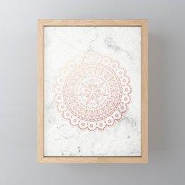 Rose gold mandala and grey marble Framed Mini Art Print