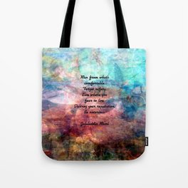 Challenging Fear Rumi Uplifting Quote With Beautiful Underwater Painting Tote Bag