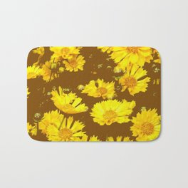 COFFEE BROWN & YELLOW COREOPSIS  FLORAL ART DESIGN Bath Mat