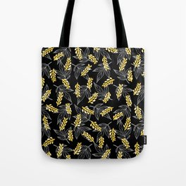 Sunshine yellow black white abstract floral illustration Tote Bag