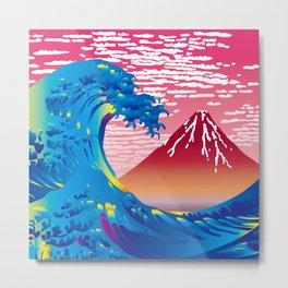 Hokusai Great Wave & Red Fuji at Sunset Metal Print
