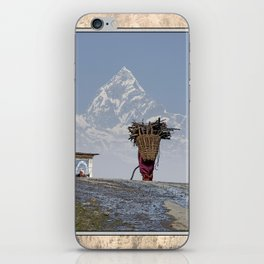 WOOD CARRIER AND MACHAPUCHARE IN NEPAL iPhone Skin