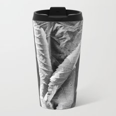 Large Black and White Curled Leaves and Geometric Tile Metal Travel Mug