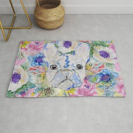 Abstract French bulldog floral watercolor paint Rug