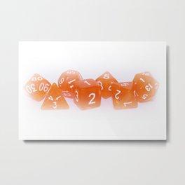 Orange Gaming Dice Metal Print