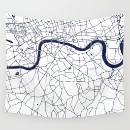 London White on Navy Street Map Wall Tapestry