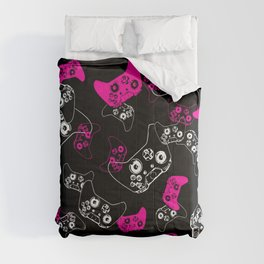 Video Game Pink on Black Comforters