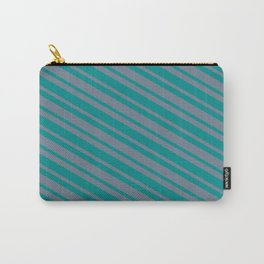 Dark Cyan & Slate Gray Colored Stripes/Lines Pattern Carry-All Pouch