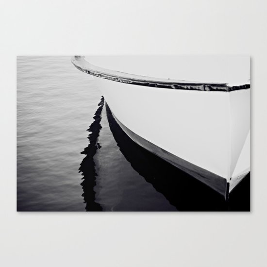 Reflections Black and White Nautical Boat Canvas Print