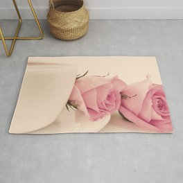 Sweet Coffee and Pink Roses (Retro Still Life Photography)  Rug
