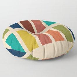 Nelson Blocks II Mid-century Modern Geometric Minimalism in Mid Century Mod Mustard, Olive, Teal, Orange, and Beige Floor Pillow