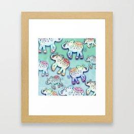 ELEPHANT PARTY MINT Framed Art Print