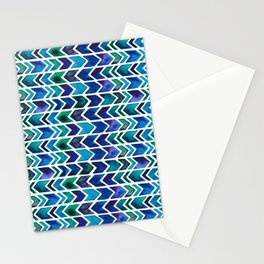 Turquoise and Green Aztec Pattern. Stationery Cards