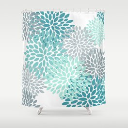 Floral Pattern, Aqua, Teal, Turquoise and Gray Shower Curtain