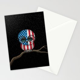 Baby Owl with Glasses and American Flag Stationery Cards