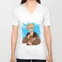 hetalia V-neck T-shirts featuring Stars by kitkatkatee