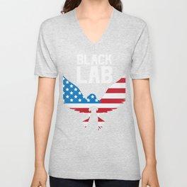 Patriotic USA Flag Black Labrador design for Lab Owners product Unisex V-Neck