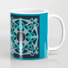 Support Love Mandala x 2 - Teal/Black Coffee Mug