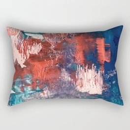 Bali: a vibrant, colorful abstract in blue, green, and pink/red Rectangular Pillow