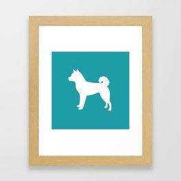 Shiba Inu (Aqua/White) Framed Art Print