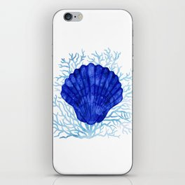 Seashell on coral - watercolors iPhone Skin