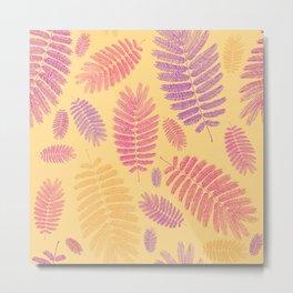 Summer Leaves Pattern Metal Print