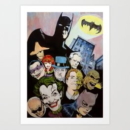 Bat man, Superhero , retro, Joker, painting, comic,  Art Print