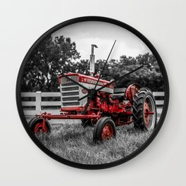 IH 240 Farmall Tractor Red Tractor Color Isolation Wall Clock