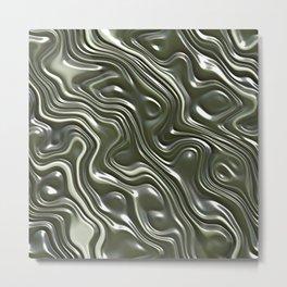Modern Green Gray White 3D Liquid Swirls Pattern Metal Print