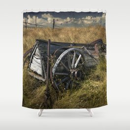 Old Broken Down Wooden Farm Wagon in the Grass Shower Curtain