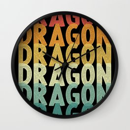 Dragon retro vintage dragon fire Wall Clock