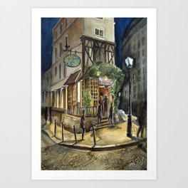 Postcards from Paris - Montmartre by Night: Le Basilic Brasserie Art Print