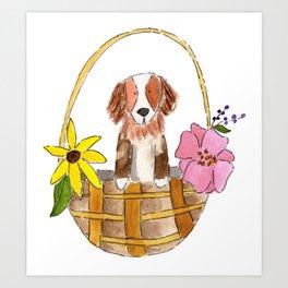 May Day dog basket Art Print