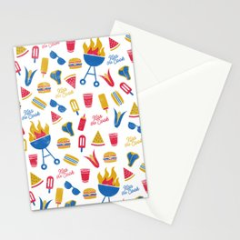 Summer BBQ Pattern - Blue Red Yellow Stationery Cards