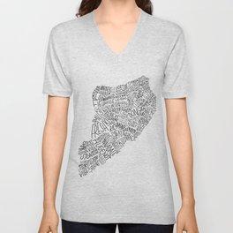 Staten Island - Hand Lettered Map Unisex V-Neck