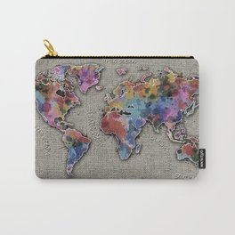 world map splatter vintage Carry-All Pouch