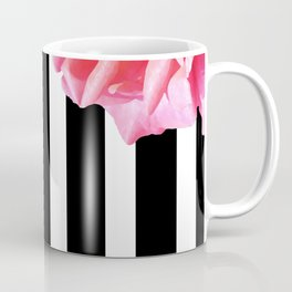 Pink roses on black and white stripes Coffee Mug
