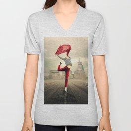Jump Around - Happiness female pure joy, bliss & liberation portrait painting Unisex V-Neck