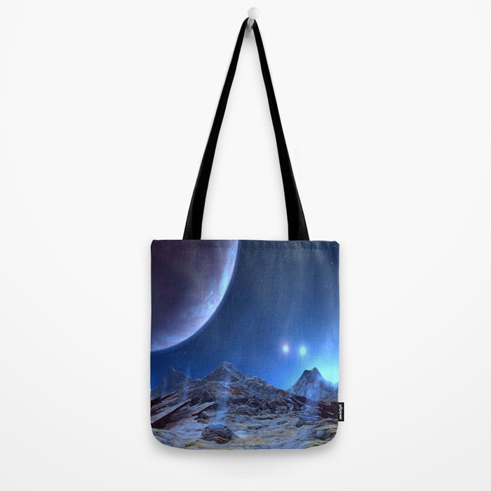 Extraterrestrial Landscape : Galaxy Planet Blue Tote Bag