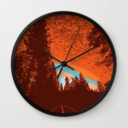 Two Lanes in the Fall Wall Clock